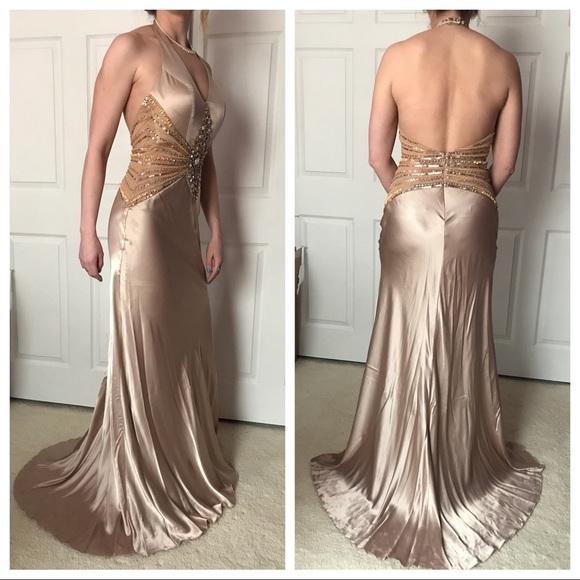 cassandra stone Dresses   Tan Beaded Low Cut Back Prom Dress   Poshmark
